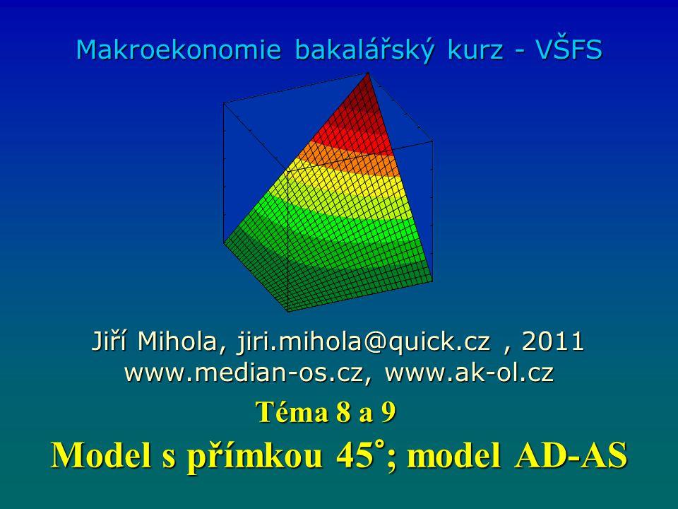 Model s přímkou 45°; model AD-AS Makroekonomie bakalářský kurz - VŠFS Jiří Mihola, jiri.mihola@quick.cz, 2011 www.median-os.cz, www.ak-ol.cz Téma 8 a