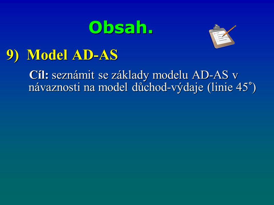 Obsah. 9) Model AD-AS Cíl: seznámit se základy modelu AD-AS v návaznosti na model důchod-výdaje (linie 45°) Cíl: seznámit se základy modelu AD-AS v ná