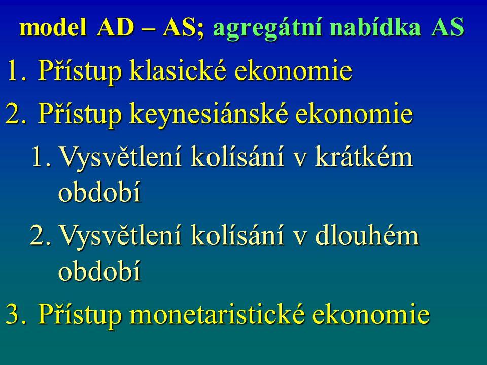model AD – AS; agregátní nabídka AS 1.Přístup klasické ekonomie 2.Přístup keynesiánské ekonomie 1.Vysvětlení kolísání v krátkém období 2.Vysvětlení ko