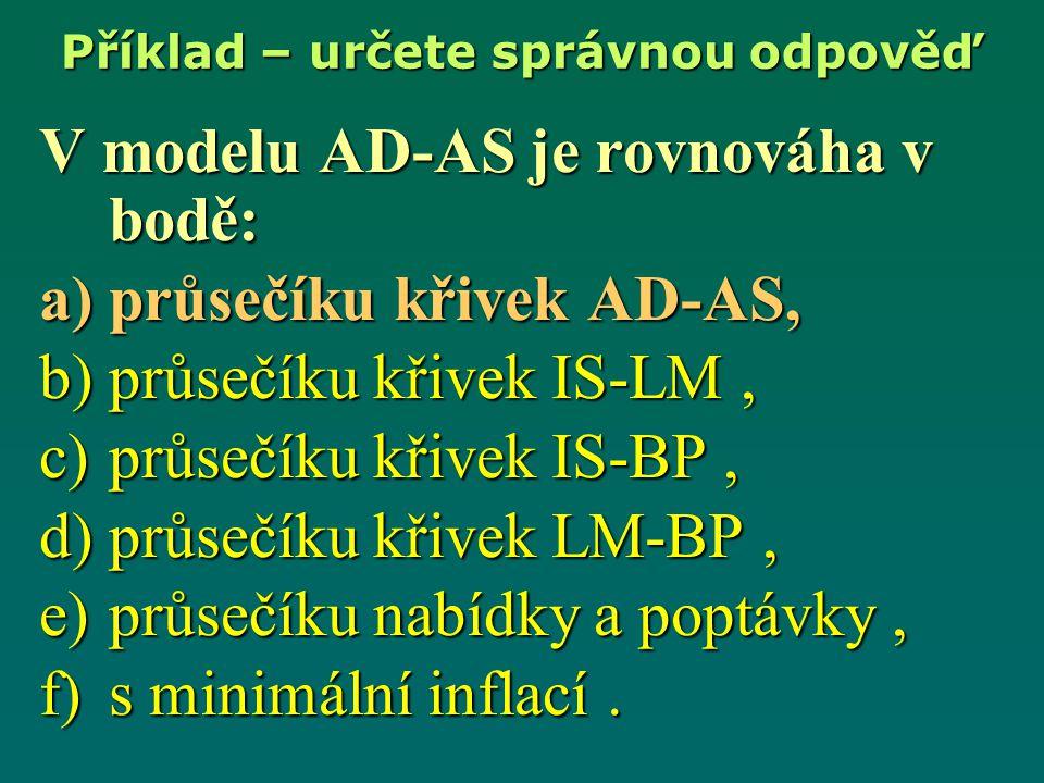V modelu AD-AS je rovnováha v bodě: a)průsečíku křivek AD-AS, b)průsečíku křivek IS-LM, c)průsečíku křivek IS-BP, d)průsečíku křivek LM-BP, e)průsečík