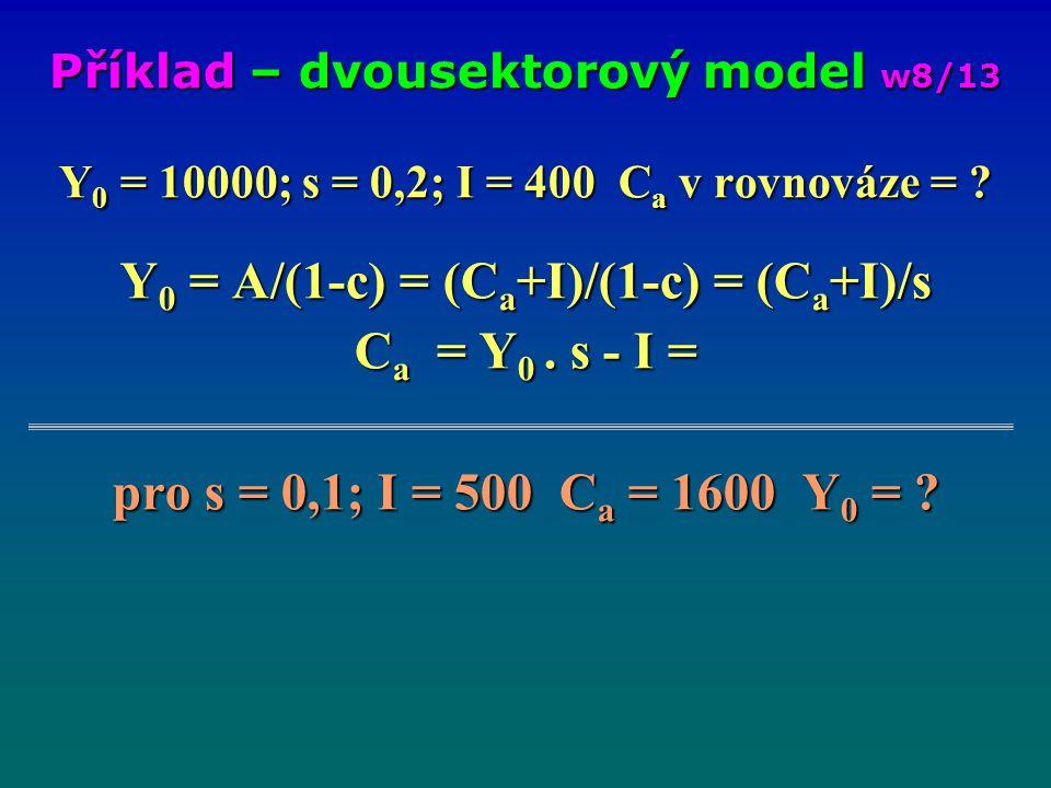 Y 0 = 10000; s = 0,2; I = 400 C a v rovnováze = ? Y 0 = A/(1-c) = (C a +I)/(1-c) = (C a +I)/s C a = Y 0. s - I = pro s = 0,1; I = 500 C a = 1600 Y 0 =