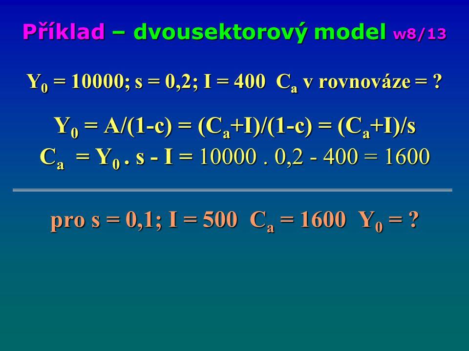 Y 0 = 10000; s = 0,2; I = 400 C a v rovnováze = ? Y 0 = A/(1-c) = (C a +I)/(1-c) = (C a +I)/s C a = Y 0. s - I = 10000. 0,2 - 400 = 1600 pro s = 0,1;