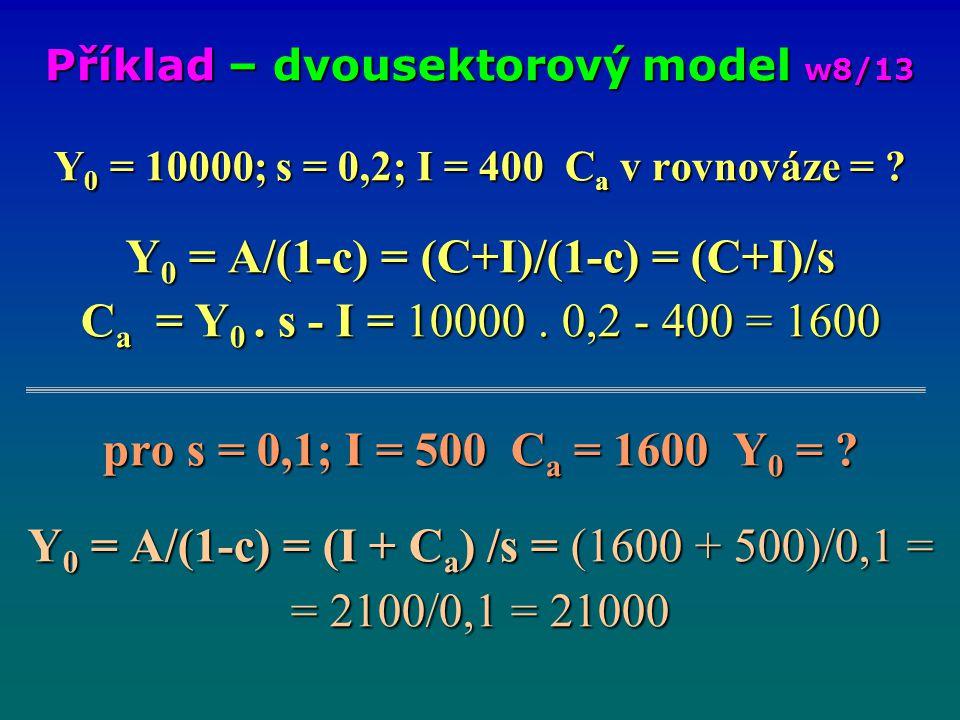 Y 0 = 10000; s = 0,2; I = 400 C a v rovnováze = ? Y 0 = A/(1-c) = (C+I)/(1-c) = (C+I)/s C a = Y 0. s - I = 10000. 0,2 - 400 = 1600 pro s = 0,1; I = 50