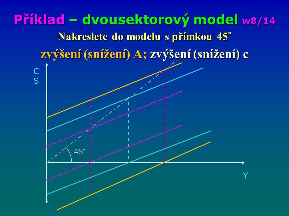 Nakreslete do modelu s přímkou 45° zvýšení (snížení) A; zvýšení (snížení) c Příklad – dvousektorový model w8/14 CSCS Y 45°