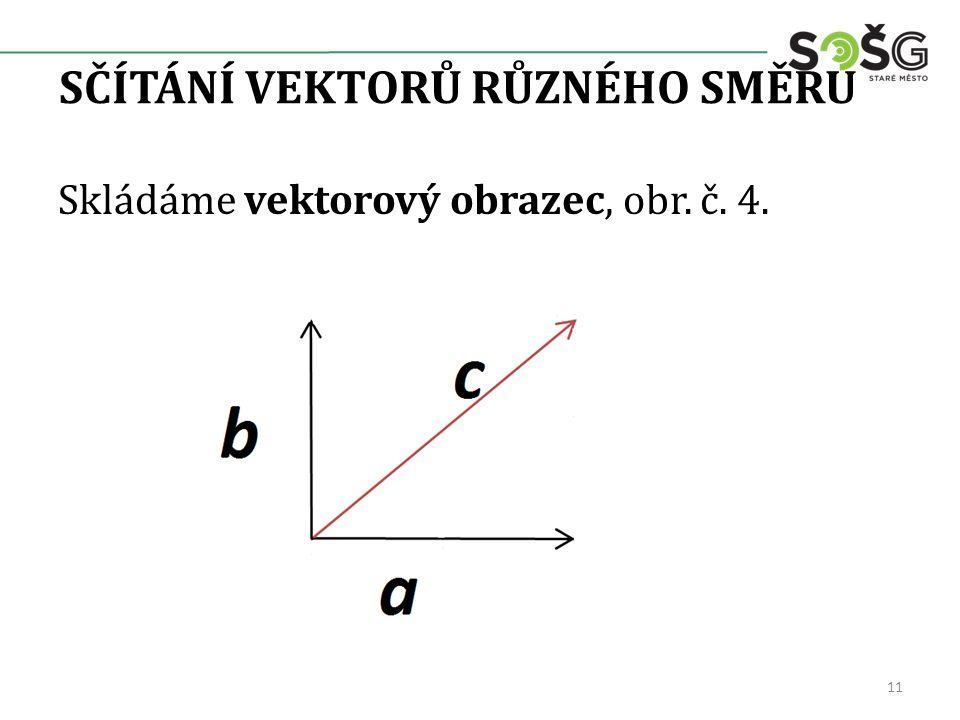 SČÍTÁNÍ VEKTORŮ RŮZNÉHO SMĚRU 11 Skládáme vektorový obrazec, obr. č. 4.