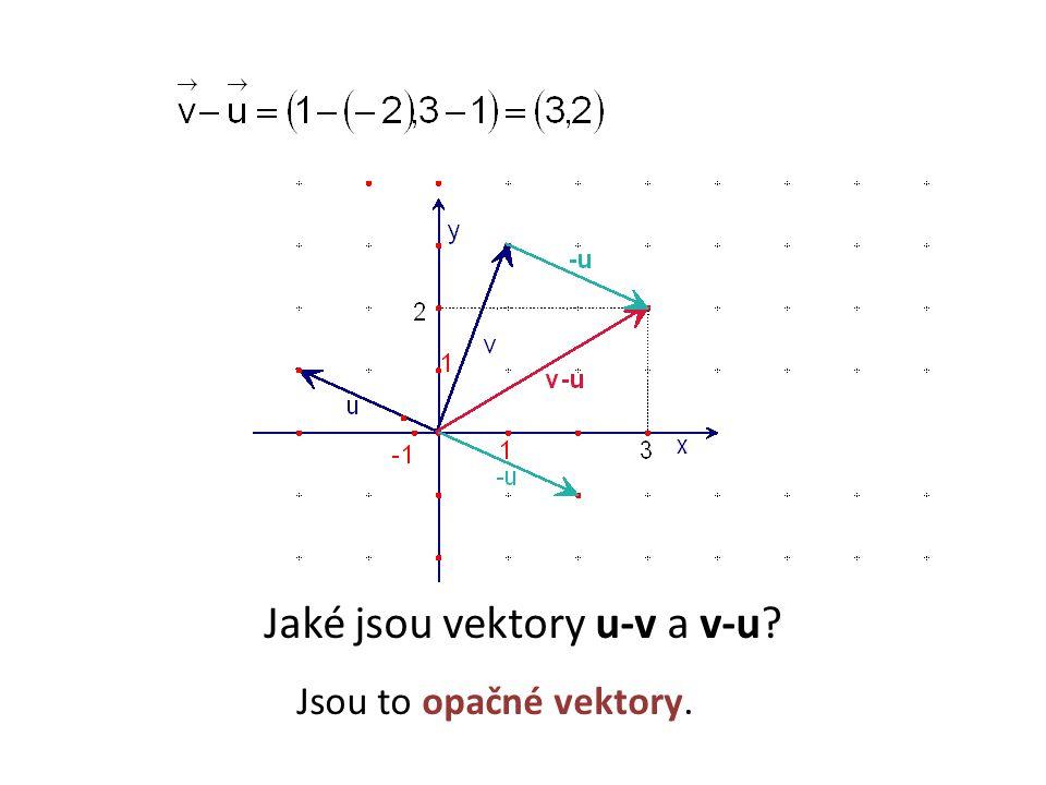 Jaké jsou vektory u-v a v-u Jsou to opačné vektory.