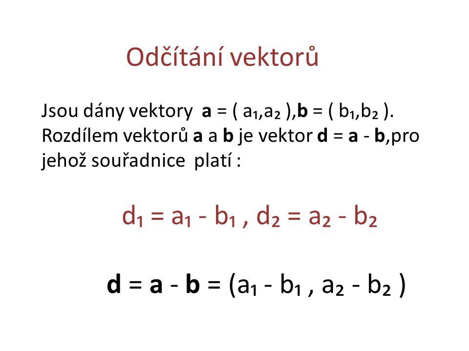 Odčítání vektorů Jsou dány vektory a = ( a₁,a₂ ),b = ( b₁,b₂ ).