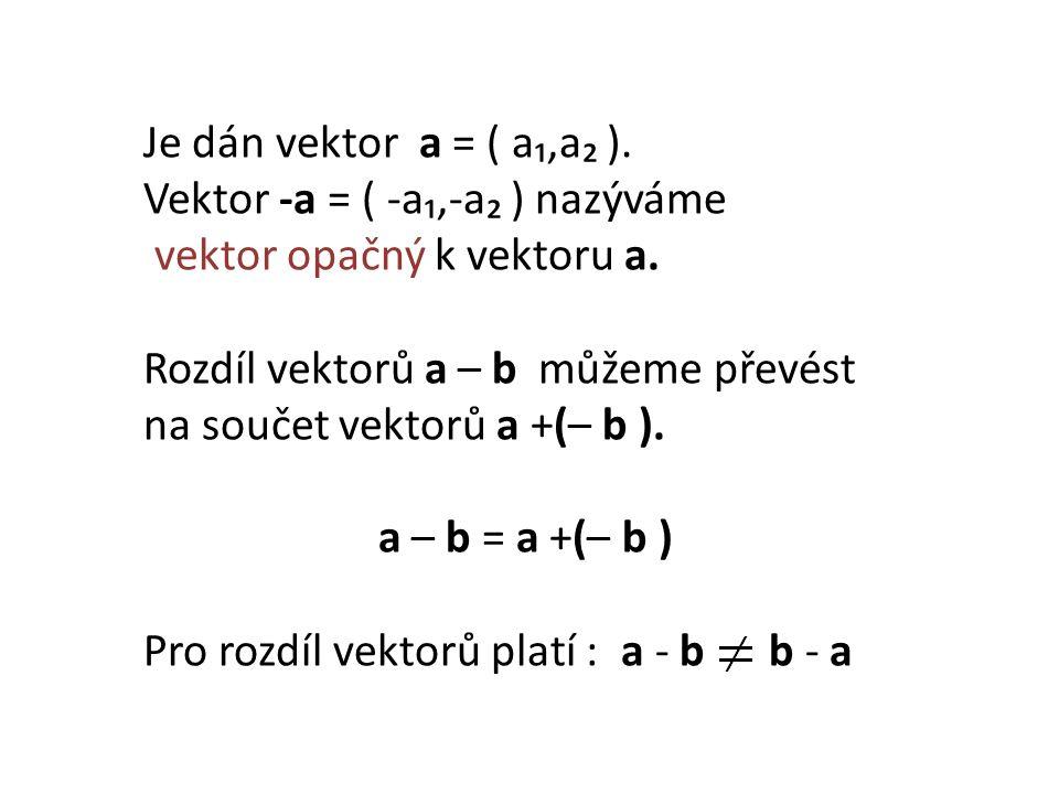 Je dán vektor a = ( a₁,a₂ ). Vektor -a = ( -a₁,-a₂ ) nazýváme vektor opačný k vektoru a.
