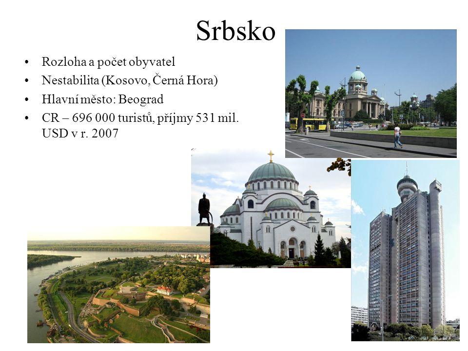 Srbsko Rozloha a počet obyvatel Nestabilita (Kosovo, Černá Hora) Hlavní město: Beograd CR – 696 000 turistů, příjmy 531 mil. USD v r. 2007