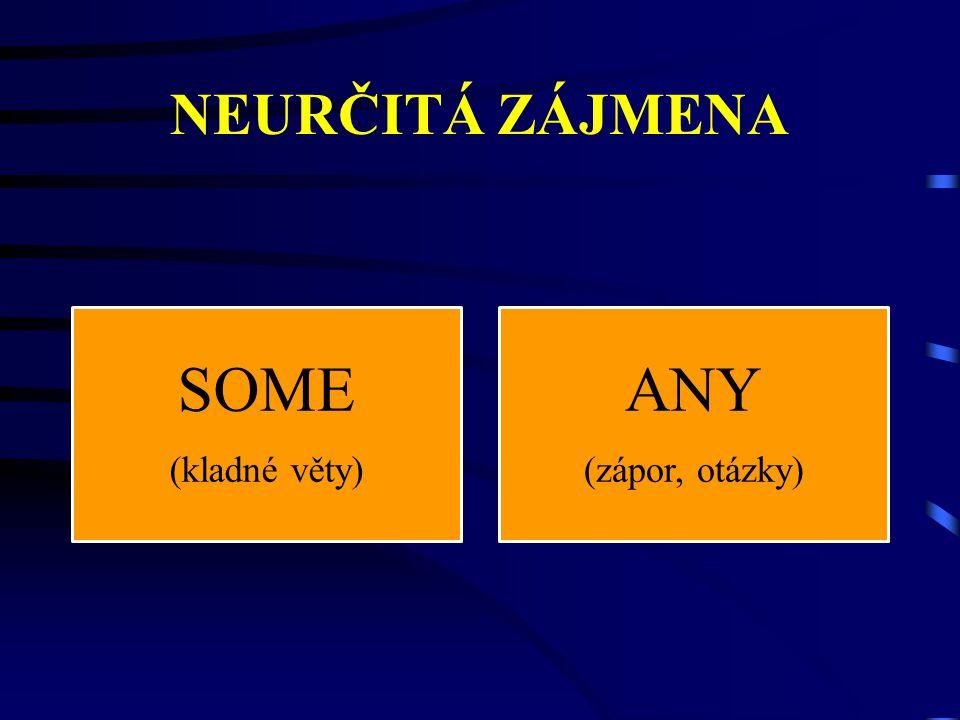 NEURČITÁ ZÁJMENA SOME (kladné věty) ANY (zápor, otázky)