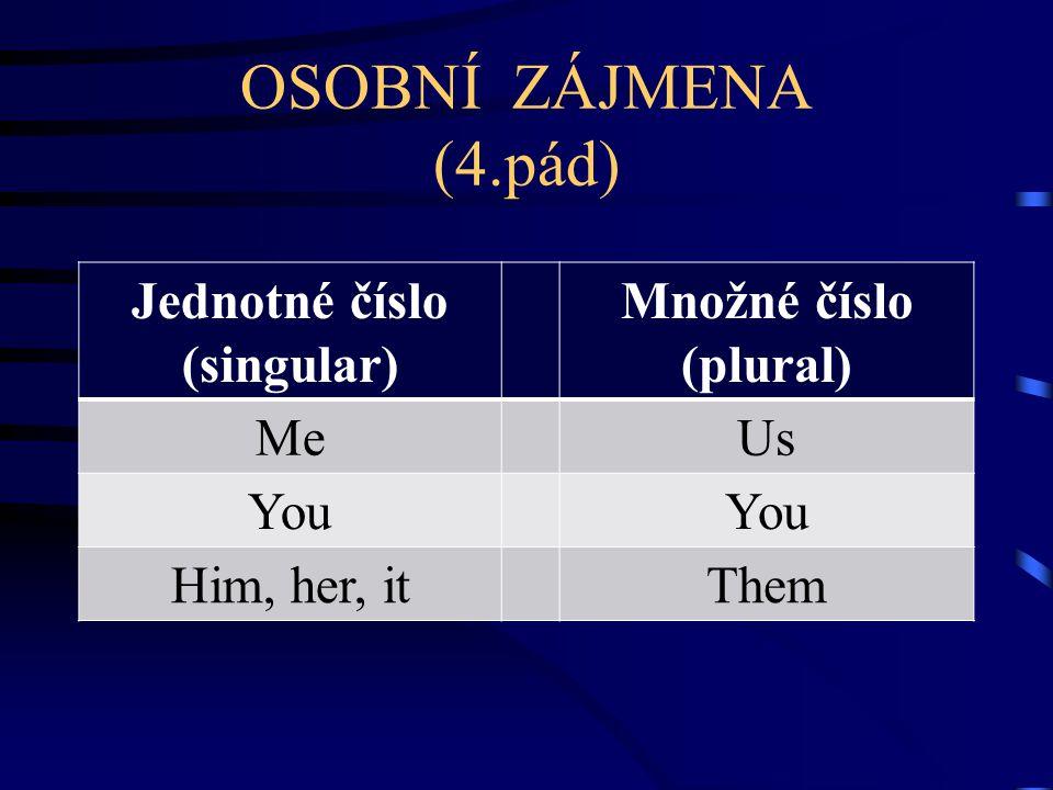 OSOBNÍ ZÁJMENA (4.pád) Jednotné číslo (singular) Množné číslo (plural) MeUs You Him, her, itThem
