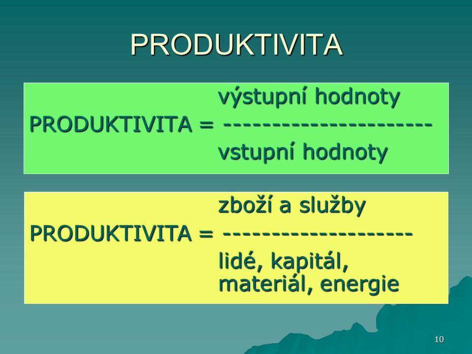 10 PRODUKTIVITA výstupní hodnoty PRODUKTIVITA = ---------------------- vstupní hodnoty zboží a služby PRODUKTIVITA = -------------------- lidé, kapitá