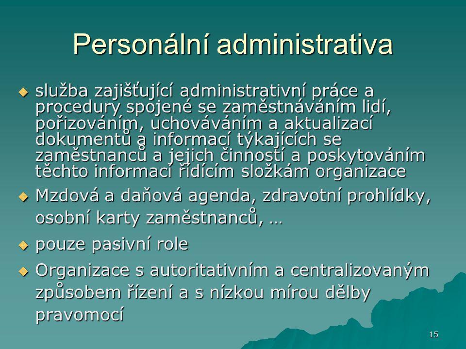 15 Personální administrativa  služba zajišťující administrativní práce a procedury spojené se zaměstnáváním lidí, pořizováním, uchováváním a aktualiz