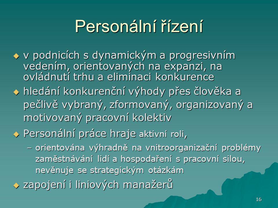 16 Personální řízení  v podnicích s dynamickým a progresivním vedením, orientovaných na expanzi, na ovládnutí trhu a eliminaci konkurence  hledání k