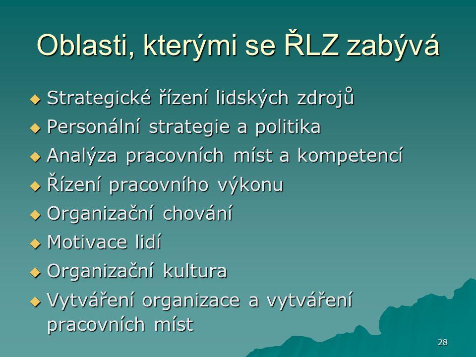 28 Oblasti, kterými se ŘLZ zabývá  Strategické řízení lidských zdrojů  Personální strategie a politika  Analýza pracovních míst a kompetencí  Říze