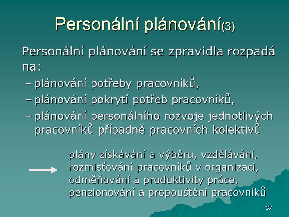 37 Personální plánování (3) Personální plánování se zpravidla rozpadá na: –plánování potřeby pracovníků, –plánování pokrytí potřeb pracovníků, –plánov