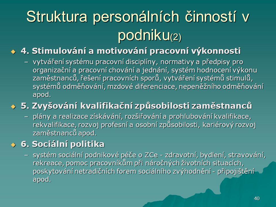 40 Struktura personálních činností v podniku (2)  4. Stimulování a motivování pracovní výkonnosti –vytváření systému pracovní disciplíny, normativy a