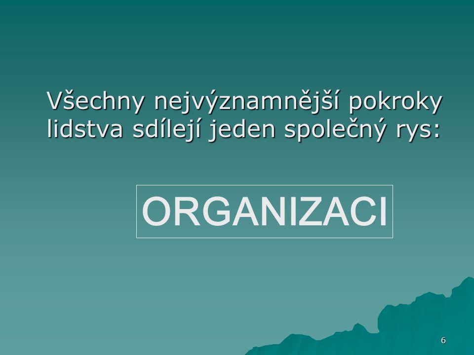 7 Společným prvkem každé organizace jsou lidé Z pohledu organizace se můžeme na lidi (vedle půdy a kapitálu) dívat jako na významné živé zdroje pro její fungování.