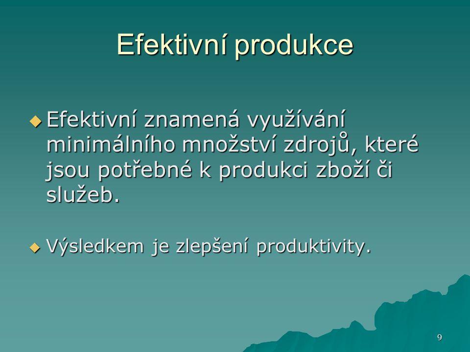 9 Efektivní produkce  Efektivní znamená využívání minimálního množství zdrojů, které jsou potřebné k produkci zboží či služeb.  Výsledkem je zlepšen