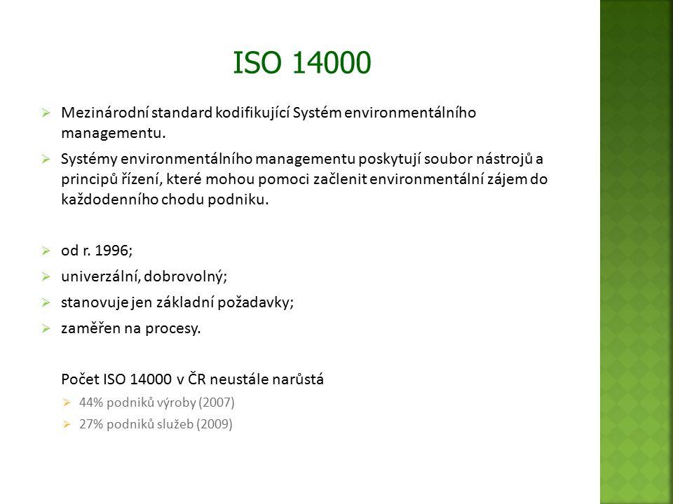  Mezinárodní standard kodifikující Systém environmentálního managementu.  Systémy environmentálního managementu poskytují soubor nástrojů a principů