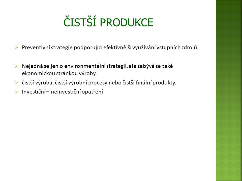  Preventivní strategie podporující efektivnější využívání vstupních zdrojů.  Nejedná se jen o environmentální strategii, ale zabývá se také ekonomic
