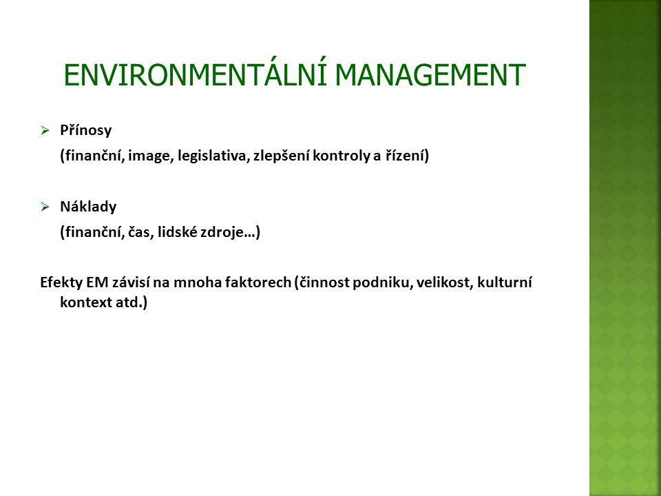 Přínosy (finanční, image, legislativa, zlepšení kontroly a řízení)  Náklady (finanční, čas, lidské zdroje…) Efekty EM závisí na mnoha faktorech (činnost podniku, velikost, kulturní kontext atd.)