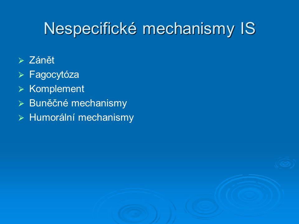 Nespecifické mechanismy IS   Zánět   Fagocytóza   Komplement   Buněčné mechanismy   Humorální mechanismy