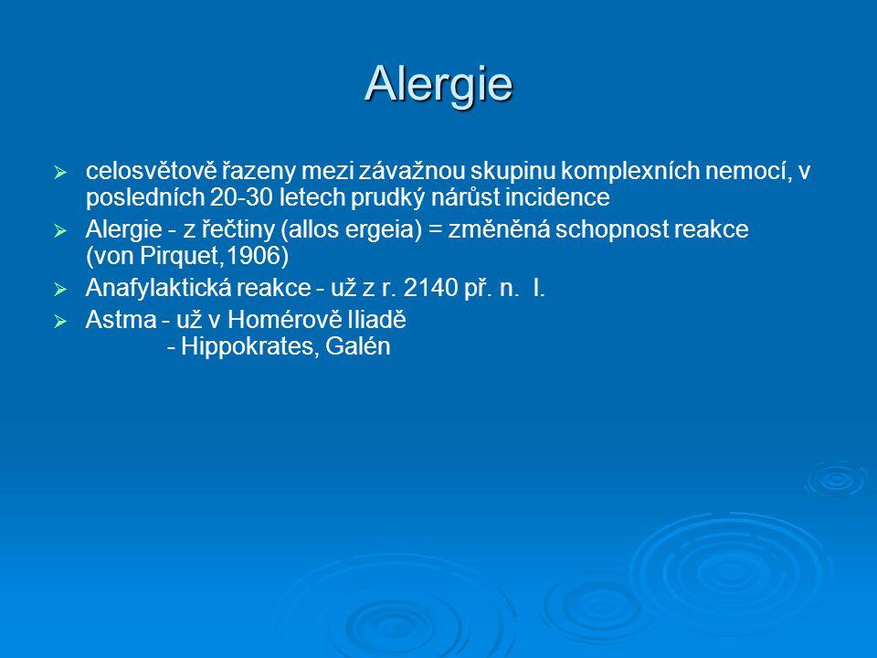 Alergie   celosvětově řazeny mezi závažnou skupinu komplexních nemocí, v posledních 20-30 letech prudký nárůst incidence   Alergie - z řečtiny (al