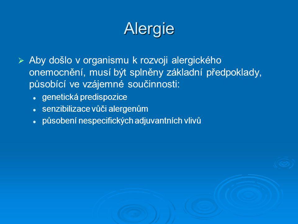 Alergie   Aby došlo v organismu k rozvoji alergického onemocnění, musí být splněny základní předpoklady, působící ve vzájemné součinnosti: genetická