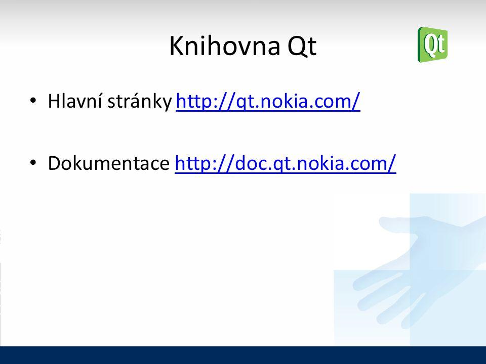 Knihovna Qt Hlavní stránky http://qt.nokia.com/http://qt.nokia.com/ Dokumentace http://doc.qt.nokia.com/http://doc.qt.nokia.com/