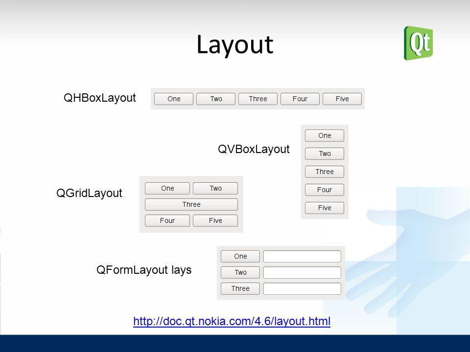 Layout QFormLayout lays http://doc.qt.nokia.com/4.6/layout.html QHBoxLayout QVBoxLayout QGridLayout