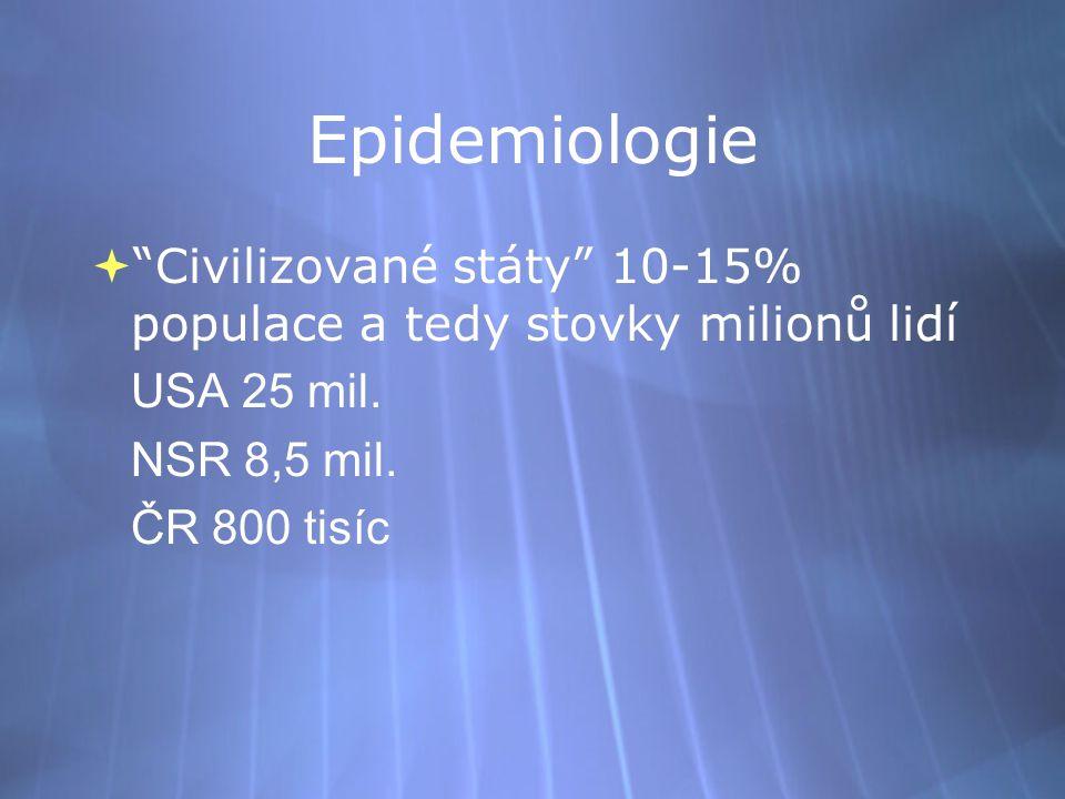 """Epidemiologie  """"Civilizované státy"""" 10-15% populace a tedy stovky milionů lidí USA 25 mil. NSR 8,5 mil. ČR 800 tisíc  """"Civilizované státy"""" 10-15% po"""