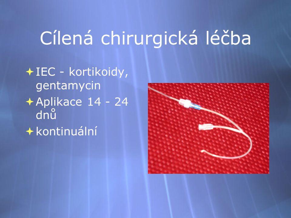Cílená chirurgická léčba  IEC - kortikoidy, gentamycin  Aplikace 14 - 24 dnů  kontinuální  IEC - kortikoidy, gentamycin  Aplikace 14 - 24 dnů  k