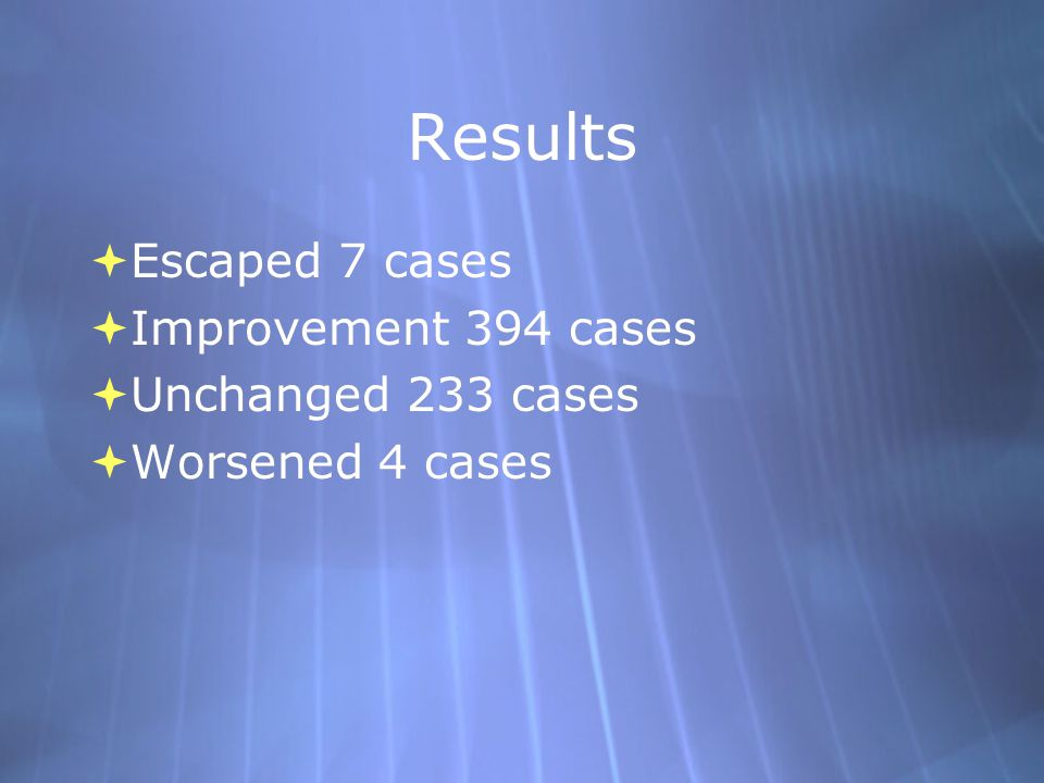 Results  Escaped 7 cases  Improvement 394 cases  Unchanged 233 cases  Worsened 4 cases  Escaped 7 cases  Improvement 394 cases  Unchanged 233 c
