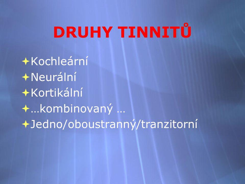 DRUHY TINNITŮ  Kochleární  Neurální  Kortikální  …kombinovaný …  Jedno/oboustranný/tranzitorní  Kochleární  Neurální  Kortikální  …kombinovaný …  Jedno/oboustranný/tranzitorní