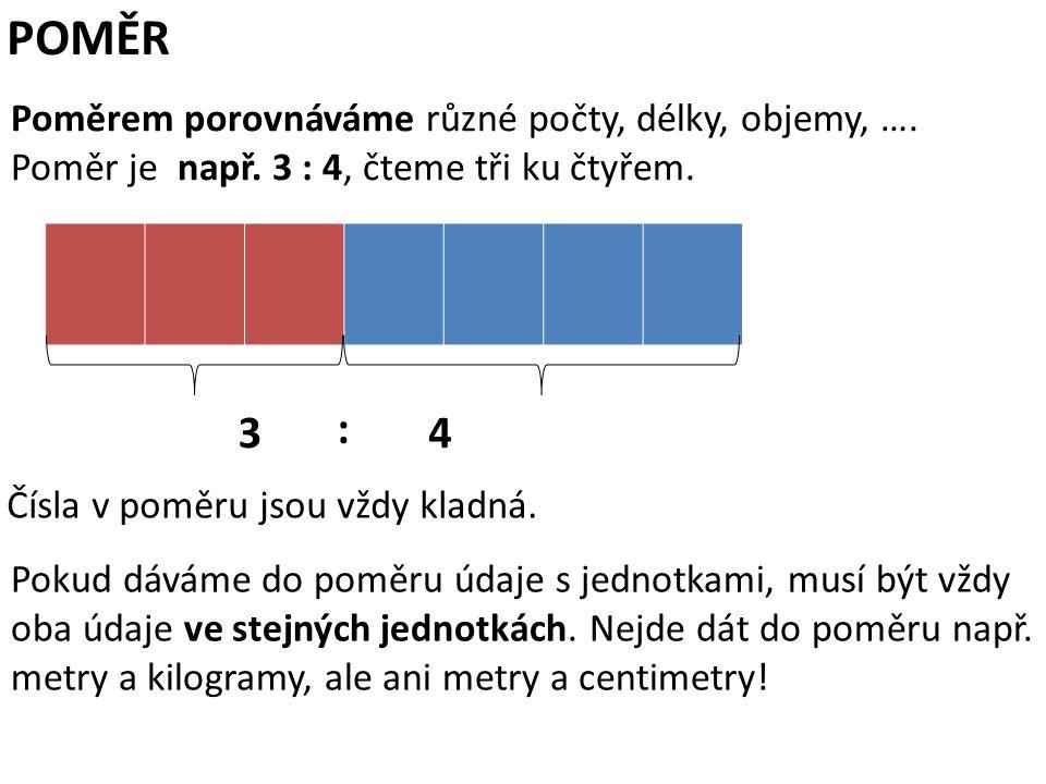 POMĚR Poměrem porovnáváme různé počty, délky, objemy, …. Poměr je např. 3 : 4, čteme tři ku čtyřem. Pokud dáváme do poměru údaje s jednotkami, musí bý