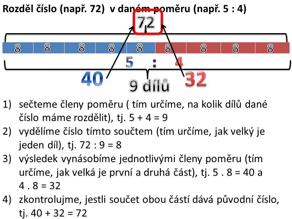 Rozděl číslo (např. 72) v daném poměru (např. 5 : 4) 1)sečteme členy poměru ( tím určíme, na kolik dílů dané číslo máme rozdělit), tj. 5 + 4 = 9 2)vyd