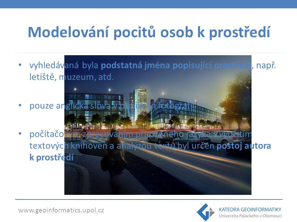 www.geoinformatics.upol.cz Modelování pocitů osob k prostředí vyhledávaná byla podstatná jména popisující prostředí, např.