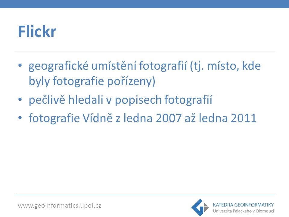 Flickr geografické umístění fotografií (tj.