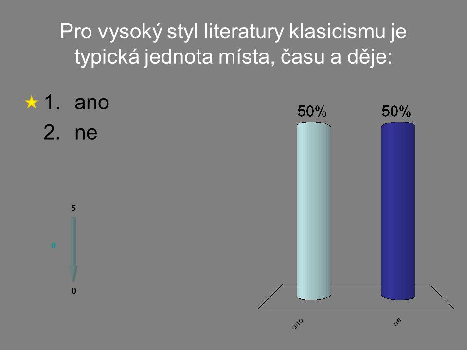 Do tzv. nízkého stylu literatury klasicismu patří: 1.
