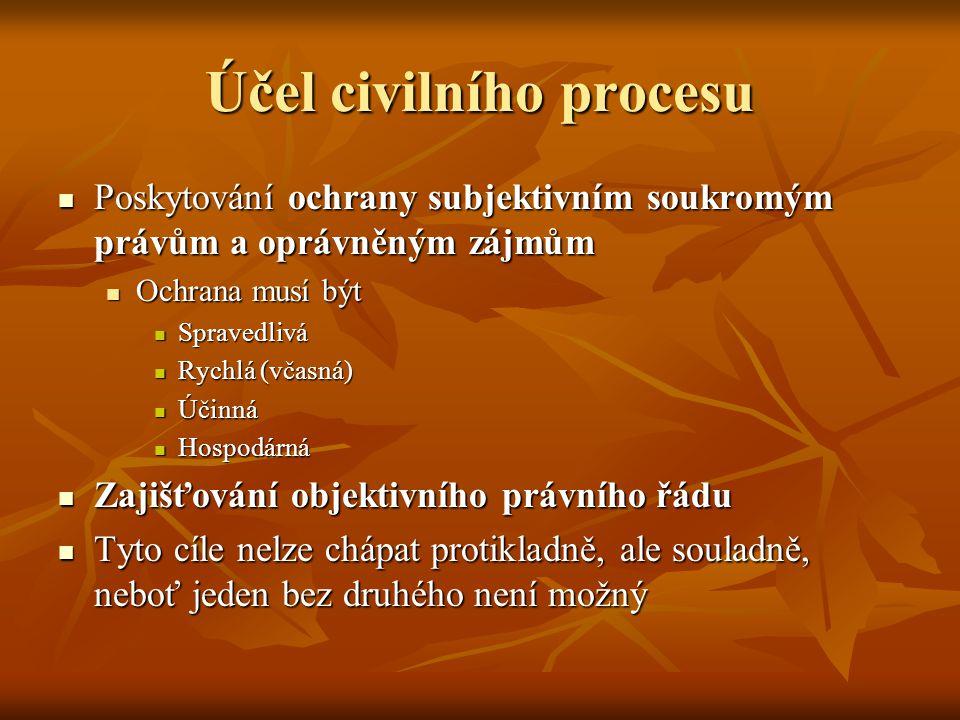 Účel civilního procesu Poskytování ochrany subjektivním soukromým právům a oprávněným zájmům Poskytování ochrany subjektivním soukromým právům a opráv