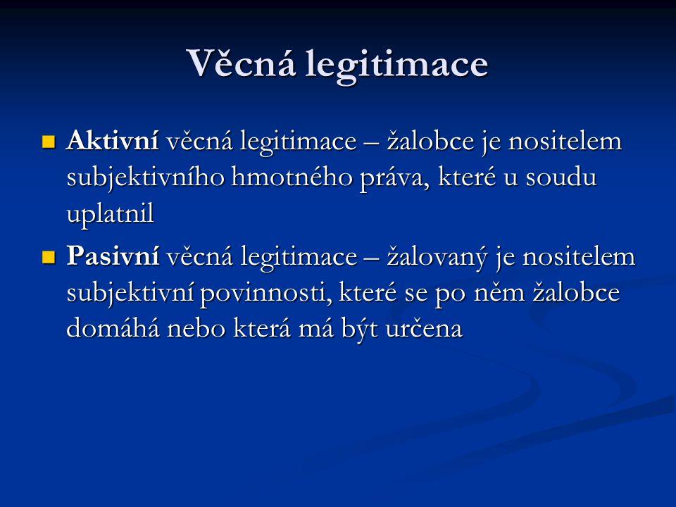 Věcná legitimace Aktivní věcná legitimace – žalobce je nositelem subjektivního hmotného práva, které u soudu uplatnil Aktivní věcná legitimace – žalob