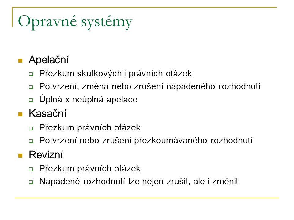 Opravné systémy Apelační  Přezkum skutkových i právních otázek  Potvrzení, změna nebo zrušení napadeného rozhodnutí  Úplná x neúplná apelace Kasačn