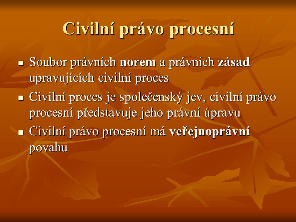 Soubor právních norem a právních zásad upravujících civilní proces Soubor právních norem a právních zásad upravujících civilní proces Civilní proces j