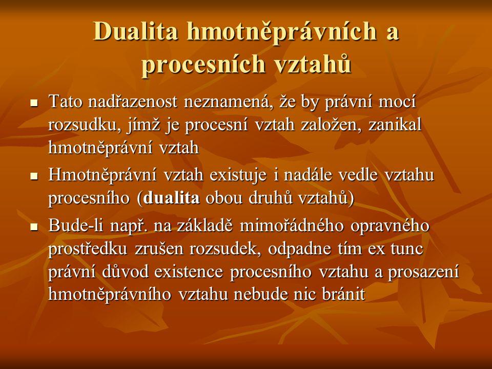 Dualita hmotněprávních a procesních vztahů Tato nadřazenost neznamená, že by právní mocí rozsudku, jímž je procesní vztah založen, zanikal hmotněprávn