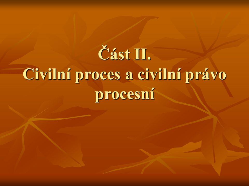 Část II. Civilní proces a civilní právo procesní