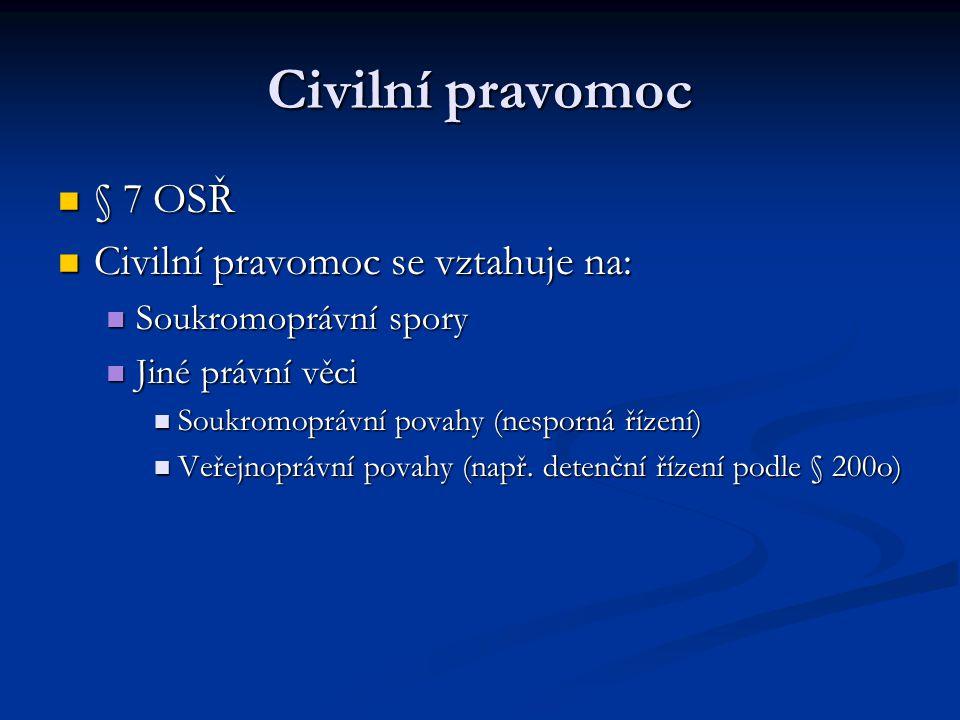 Civilní pravomoc § 7 OSŘ § 7 OSŘ Civilní pravomoc se vztahuje na: Civilní pravomoc se vztahuje na: Soukromoprávní spory Soukromoprávní spory Jiné práv