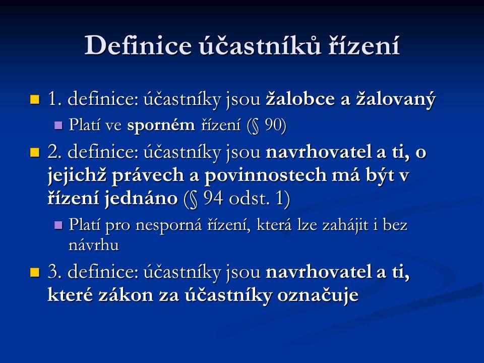 Definice účastníků řízení 1. definice: účastníky jsou žalobce a žalovaný 1. definice: účastníky jsou žalobce a žalovaný Platí ve sporném řízení (§ 90)
