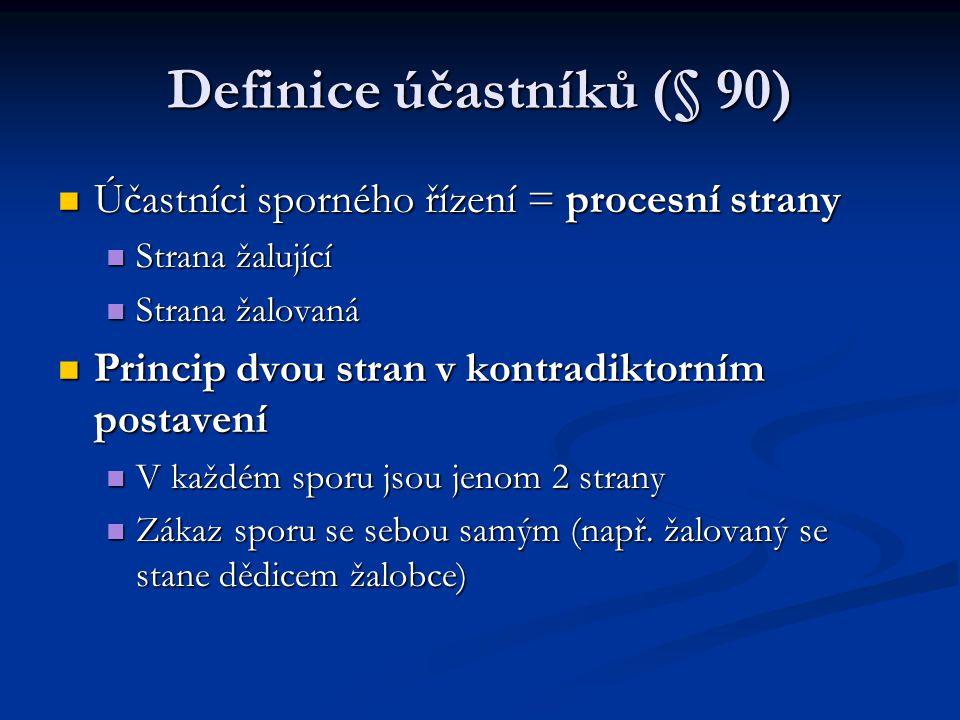 Definice účastníků (§ 90) Účastníci sporného řízení = procesní strany Účastníci sporného řízení = procesní strany Strana žalující Strana žalující Stra