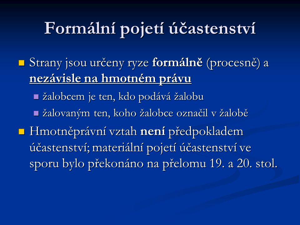 Formální pojetí účastenství Strany jsou určeny ryze formálně (procesně) a nezávisle na hmotném právu Strany jsou určeny ryze formálně (procesně) a nez